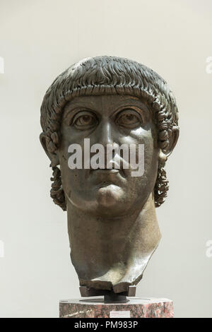 Colossal bronze head  of Constantine, Capitoline Museums, Rome, Italy - Stock Photo