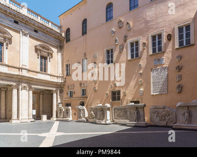 Palazzo dei Conservatori courtyard, Capitoline Museums, Rome, Italy - Stock Photo