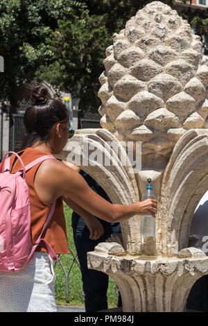 Nasone or Drinking Water Fountain, Rome, Italy - Stock Photo
