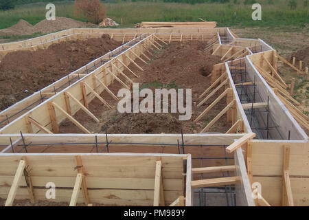 Wooden formwork concrete strip foundation for a cottage 2018 - Stock Photo