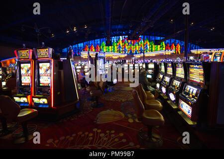 Buffalo, USA-20 July, 2018: Seneca Niagara Casino hall with slot machines and roulette tables - Stock Photo