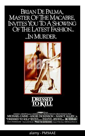 Studio Publicity: 'Dressed to Kill' 1980 Filmways Pictures  Poster Michael Caine, Angie Dickinson, Nancy Allen     File Reference # 31955 004THA - Stock Photo