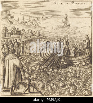 The Miraculous Draught of Fishes. Dated: 1577. Medium: engraving. Museum: National Gallery of Art, Washington DC. Author: Léonard Gaultier. - Stock Photo