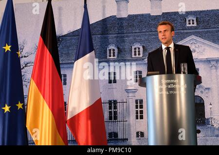 Berlin, Germany. 19th June, 2018. President of the French Republic Emmanuel Jean-Michel Frédéric Macron holds a press conference. Credit: Lorena De La Cuesta/SOPA Images/ZUMA Wire/Alamy Live News - Stock Photo