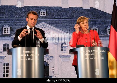 Berlin, Germany. 19th June, 2018. President of the French Republic Emmanuel Jean-Michel Frédéric Macron holds a press conference together with German Chancellor Angela Merkel. Credit: Lorena De La Cuesta/SOPA Images/ZUMA Wire/Alamy Live News - Stock Photo