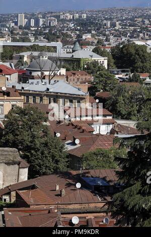 TBILISI, GEORGIA – SEPTEMBER 17, 2018: An aerial view of Tbilisi, the capital of Georgia. Artyom Geodakyan/TASS - Stock Photo