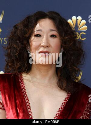 Sandra Oh at arrivals for 70th Primetime Emmy Awards 2018 - ARRIVALS, Microsoft Theater, Los Angeles, CA September 17, 2018. Photo By: Elizabeth Goodenough/Everett Collection - Stock Photo
