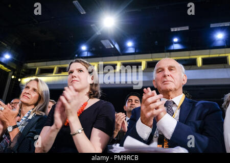 Brighton Centre, Sussex, UK. 17th Sep 2018. Vince Cable MP and Jo Swinson at the Liberal Democrat Autumn Conference  on Monday 17 September 2018 held at Brighton Centre, Sussex. Pictured:  Vince Cable, Leader of the Liberal Democrats, MP for Twickenham, Jo Swinson, Liberal Democrat Deputy Leader , Spokesperson on Foreign and Commonwealth Affairs, MP for East Dunbartonshire. Picture by Julie Edwards. Credit: Julie Edwards/Alamy Live News - Stock Photo