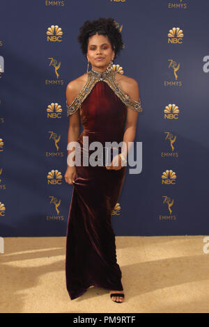 LOS ANGELES, CA - SEPTEMBER 17: Zazie Beetz at the 70th Primetime Emmy Awards at the Microsoft Theater in Los Angeles, California on September 17, 2018. Credit: Faye Sadou/MediaPunch - Stock Photo