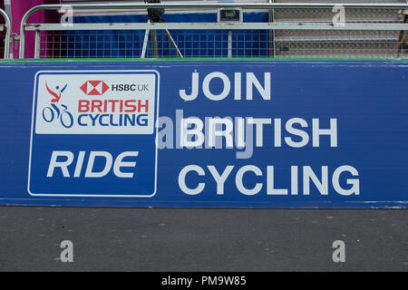 HSBC British Cycling Let's Ride Westminster Event 2018. Board promoting, encouraging British cycling at all levels displayed on the circuit in London. - Stock Photo