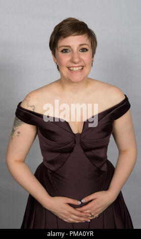 """After winning the category of BEST PERFORMANCE BY AN ACTRESS IN A TELEVISION SERIES – COMEDY OR MUSICAL for her role in """"GIRLS"""", actress Lena Dunham poses backstage in the press room at the 70th Annual Golden Globe Awards at the Beverly Hilton in Beverly Hills, CA on Sunday, January 13, 2013. - Stock Photo"""