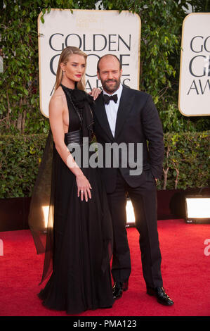 Actress Rosie Huntington-Whiteley and actor Jason Statham attend the 70th Annual Golden Globe Awards at the Beverly Hilton in Beverly Hills, CA on Sunday, January 13, 2013. - Stock Photo