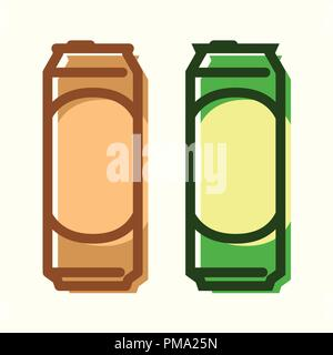 Can of Beer, set of vector icons - Stock Photo