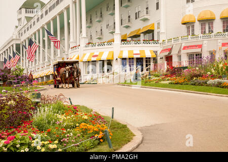 Facade of the Grand Hotel, on Mackinac Island. Popular vacation destination in the state of Michigan, USA. It has the world's largest porch. - Stock Photo