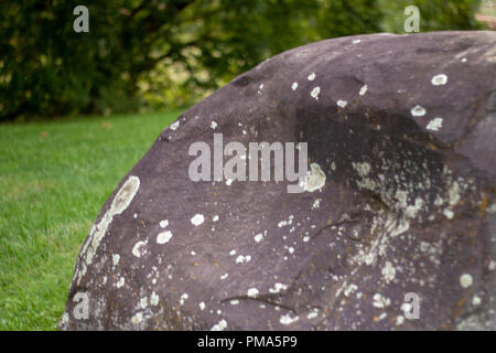 an old boulder in the park in autumn - Stock Photo