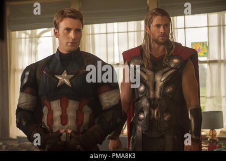 Marvel's Avengers: Age Of Ultron..Captain America/Steve Rogers (Chris Evans) and Thor (Chris Hemsworth) - Stock Photo