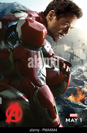 Marvel's Avengers: Age Of Ultron (Poster), Robert Downey Jr., Marvel 2015 - Stock Photo