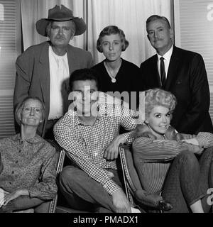 Clockwise from upper left are Buddy Ebsen (as Jed Clampett), Nancy Kulp (as Jane Hathaway), Raymond Bailey (as Milburn Drysdale), Donna Douglas as Elly May Clampett, Max Baer Jr. (as Jethro Bodine) and Irene Ryan (as 'Granny') 'The Beverly Hillbillies' circa 1965 CBS File Reference # 32509_403THA - Stock Photo