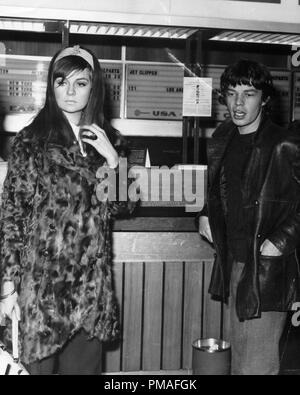 Mick Jagger of The Rolling Stones and his girlfriend Chrissie Shrimpton, 1966 © JRC /The Hollywood Archive - All Rights Reserved  File Reference # 32633 598THA - Stock Photo