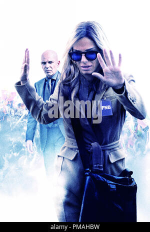 SANDRA BULLOCK as Jane and BILLY BOB THORNTON as Pat Candy in Warner Bros. Pictures and Participant Media's satirical comedy 'OUR BRAND IS CRISIS,' a Warner Bros. Pictures release. Poster - Stock Photo