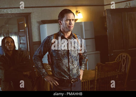 FARGO -- 'Before The Law' -- Episode 202 (Airs October 19, 10:00 pm e/p) Pictured: (l-r) Jeffrey Donovan as Dodd Gerhardt, Zahn McClarnon as Ohanzee Dent. - Stock Photo