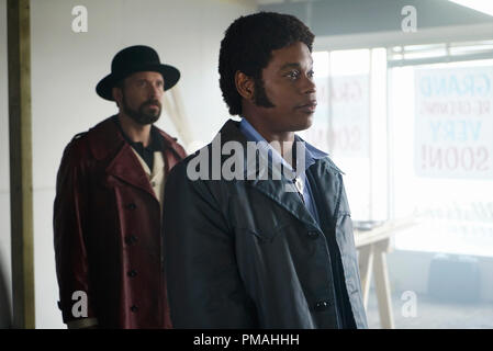 FARGO -- 'Before The Law' -- Episode 202 (Airs October 19, 10:00 pm e/p) Pictured: (l-r) Brad Mann as Gale Kitchen, Bokeem Woodbine as Mike Milligan. - Stock Photo