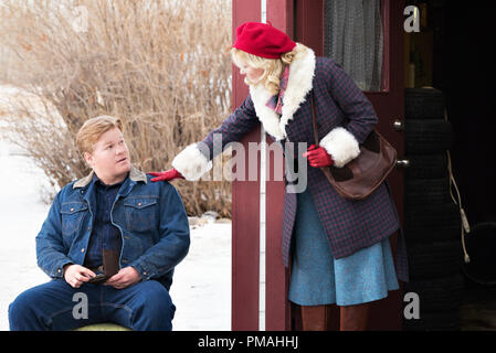"""FARGO -- """"Before The Law"""" -- Episode 202 (Airs October 19, 10:00 pm e/p) Pictured: (l-r) Jesse Plemons as Ed Blumquist, Kirsten Dunst as Peggy Blumquist. - Stock Photo"""