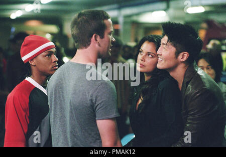 (L to R) Twinkie (BOW WOW), underdog street racer Sean Boswell (LUCAS BLACK), D.K.'s girlfriend Neela (NATHALIE KELLEY) and D.K., the 'Drift King' (BRIAN TEE)  'The Fast and the Furious: Tokyo Drift' (2006) - Stock Photo