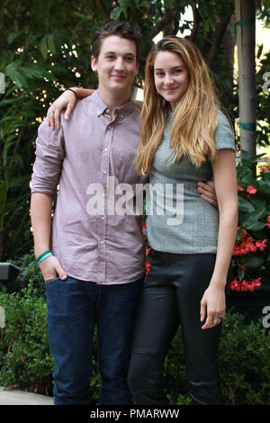Shailene Woodley and Miles Teller   'The Spectacular Now' Portrait Session, July 29, 2013. Reproduction by American tabloids is absolutely forbidden. File Reference # 32075 030JRC  For Editorial Use Only -  All Rights Reserved - Stock Photo