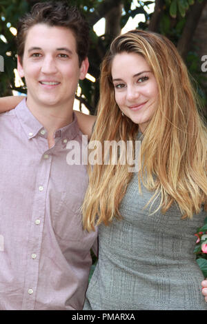 Shailene Woodley and Miles Teller   'The Spectacular Now' Portrait Session, July 29, 2013. Reproduction by American tabloids is absolutely forbidden. File Reference # 32075 035JRC  For Editorial Use Only -  All Rights Reserved - Stock Photo
