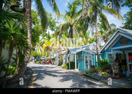 KEY WEST, USA - CIRCA SEPTEMBER, 2018: Quaint palm and shack lined waterfront street - Stock Photo