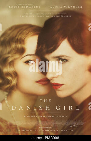 Eddie Redmayne stars as Lili Elbe, in THE DANISH GIRL, released by Focus Features. Poster - Stock Photo