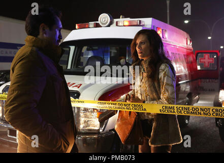 THE BRIDGE - 'Pilot' - Episode 1 (Series Premiere, Wednesday, July 10, 10:00 pm e/p) Pictured: (L-R) Demian Bechir as Marco Ruiz, Annabeth Gish as Charlotte Millwright. CR: Byron Cohen/FX Network - Stock Photo