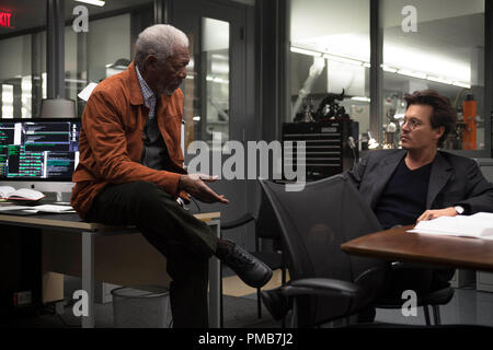 L-r) MORGAN FREEMAN as Joseph Tagger and JOHNNY DEPP as Will Caster in Alcon Entertainment's sci-fi thriller 'TRANSCENDENCE,' a Warner Bros. - Stock Photo