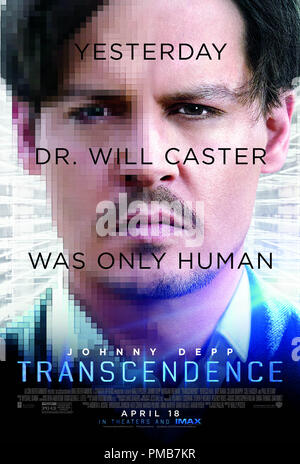 JOHNNY DEPP as Will Caster in Alcon Entertainment's sci-fi thriller 'TRANSCENDENCE,' a Warner Bros. Pictures release. Poster - Stock Photo
