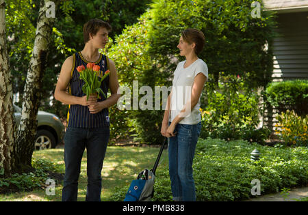 Gus (Ansel Elgort) and Hazel (Shailene Woodley) are two extraordinary teenagers who share an acerbic wit, a disdain for the conventional, and a love that sweeps them -- and us - on an unforgettable journey in 'The Fault in Our Stars' (2014) - Stock Photo