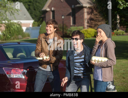 Gus (Ansel Elgort, left), Isaac (Nat Wolff) and Hazel (Shailene Woodley) enjoy their egg-throwing prank in 'The Fault in Our Stars' (2014) - Stock Photo