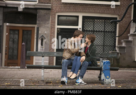Hazel (Shailene Woodley) and Gus (Ansel Elgort) share a tender moment during a memorable trip to Amsterdam in 'The Fault in Our Stars' (2014) - Stock Photo