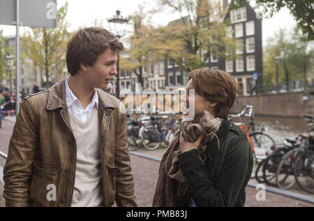 Hazel (Shailene Woodley) and Gus (Ansel Elgort) are two extraordinary teenagers who share an acerbic wit, a disdain for the conventional, and a love that sweeps them -- and us - on an unforgettable journey in 'The Fault in Our Stars' (2014) - Stock Photo