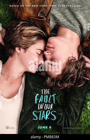 Hazel (Shailene Woodley) and Gus (Ansel Elgort) in 'The Fault in Our Stars' (2014) Poster - Stock Photo