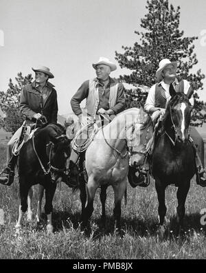 Michael Landon, Lorne Greene, Dan Blocker, 'Bonanza' circa 1962   File Reference # 32337_251THA - Stock Photo