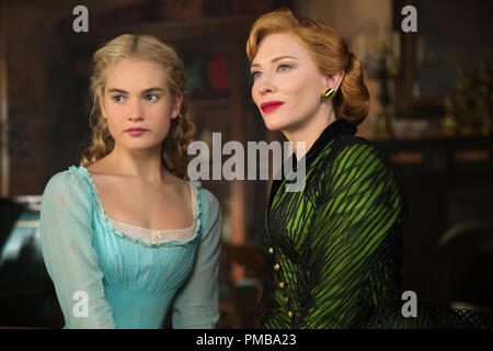 Lily James is Cinderella and Cate Blanchett is the Stepmother in Disney's live-action feature CINDERELLA which brings to life the timeless images from Disney's 1950 animated masterpiece as fully-realized characters in a visually dazzling spectacle for a whole new generation. - Stock Photo