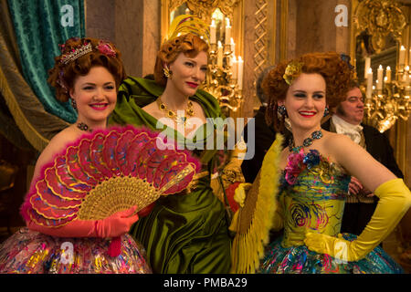 Holliday Grainger is Anastasia, Cate Blanchett is the Stepmother and Sophie McShera is Drisella in Disney's live-action feature CINDERELLA which brings to life the timeless images from Disney's 1950 animated masterpiece as fully-realized characters in a visually dazzling spectacle for a whole new generation. - Stock Photo