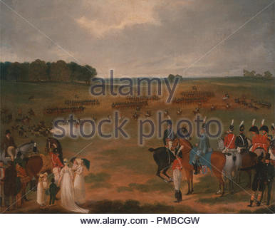 A Review of the London Volunteer Cavalry and Flying Artillery in Hyde Park in 1804. Date/Period: Ca. 1804. Painting. Oil on board laid down on panel. Height: 403 mm (15.86 in); Width: 510 mm (20.07 in). Author: UNKNOWN ARTIST. - Stock Photo