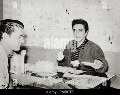 Elvis Presley and Music Producer Sam Phillips in Memphis, Tennessee 1956.File Reference # 32914 843THA - Stock Photo