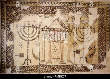 Synagogue floor. Date/Period: Byzantine Period, 5th century - Byzantine Period, 7th century. Mosaic. Stone and glass mosaic Stone and glass mosaic. Author: UNKNOWN. - Stock Photo