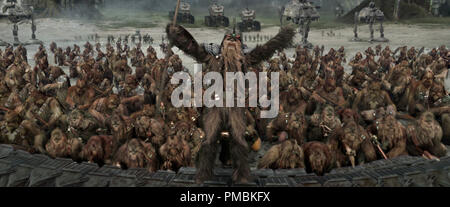 Charge! A large band of Wookiee warriors gets ready to take on the Separatist battle droid army during the Battle of Kashyyyk in Star Wars: Episode III Revenge of the Sith. TM & © 2005 Lucasfilm Ltd. All Rights Reserved. - Stock Photo