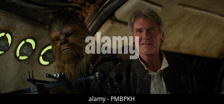 Harrison Ford and Peter Mayhew in 'Star Wars: Episode VII - The Force Awakens' (2015) © Lucasfilm 2015 - Stock Photo