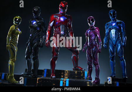 From left to right: Trini the Yellow Ranger (Becky G), Zack the Black Ranger (Ludi Lin), Jason the Red Ranger (Dacre Montgomery), Kimberly the Pink Ranger (Naomi Scott) and Billy the Blue Ranger (RJ Cyler) in SABAN'S POWER RANGERS. (2017) Lions Gate - Stock Photo