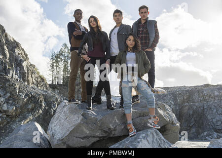 From left to right: Billy the Blue Ranger (RJ Cyler), Kimberly the Pink Ranger (Naomi Scott), Zack the Black Ranger (Ludi Lin), Trini the Yellow Ranger (Becky G) and Jason the Red Ranger (Dacre Montgomery) in SABAN'S POWER RANGERS. (2017) Lions Gate - Stock Photo